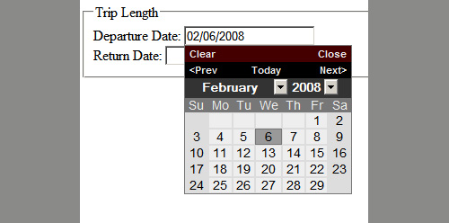 Date picker with default style