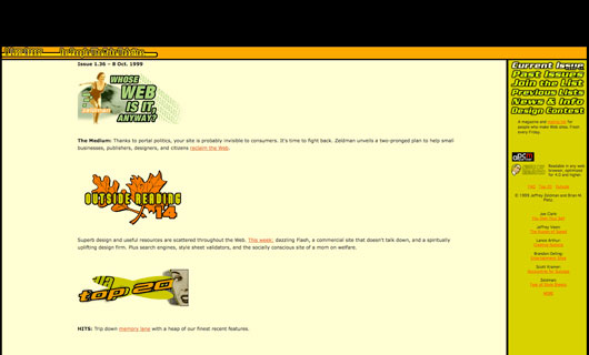 """A List Apart"" website in 1998"