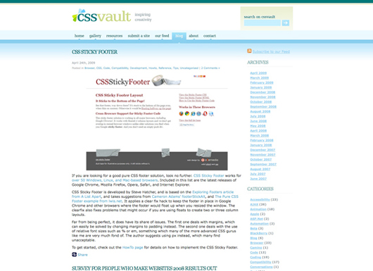 Screenshot CSS Vault