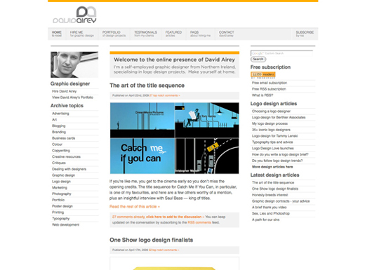 David Airey's blog screenshot