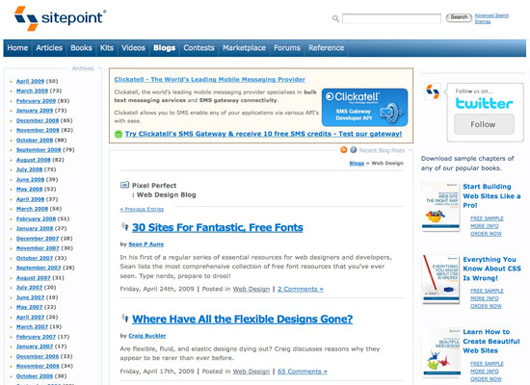 Sitepoint screenshot