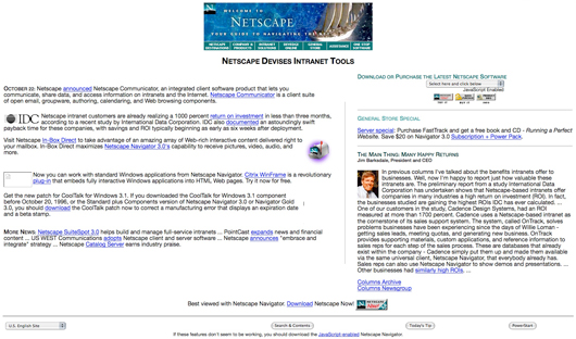 Netscape's website in 1996