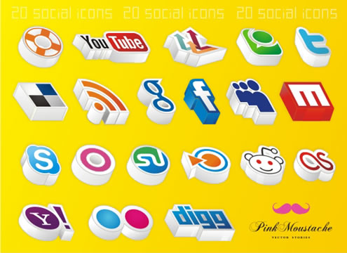 Unusual and Unique Social Media Icons