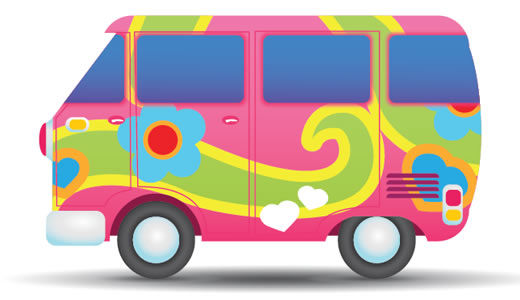 Illustrate a Colorful Hippie Peace Van