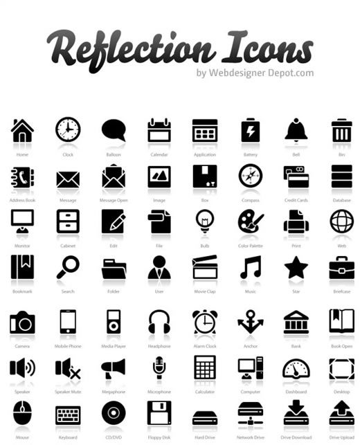 "200+ Exclusive Free Icons: ""Reflection"""