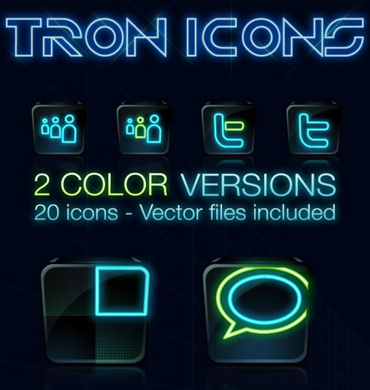 Tron Legacy Social Icons