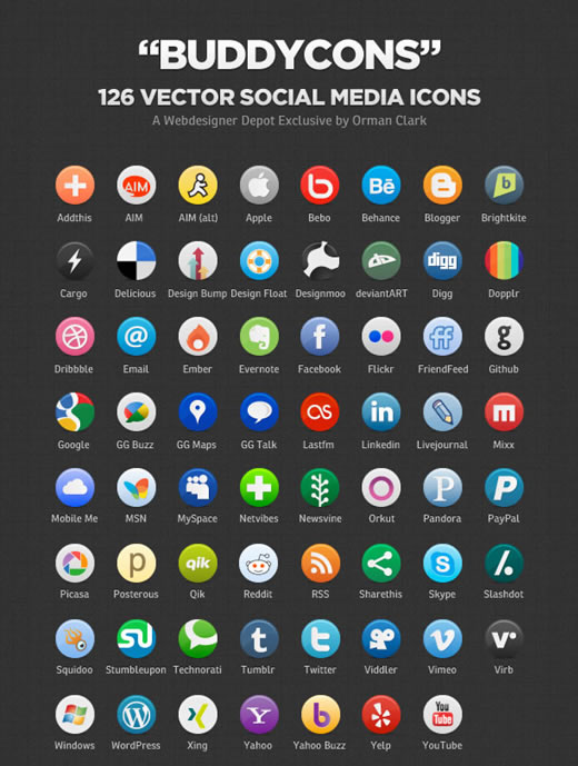 Buddycons – Vector Social Media Icons