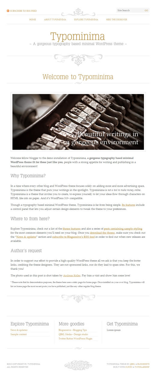 Typominima: Free typography based minimal WordPress theme