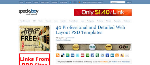 40 Professional and Detailed Web Layout PSD Templates