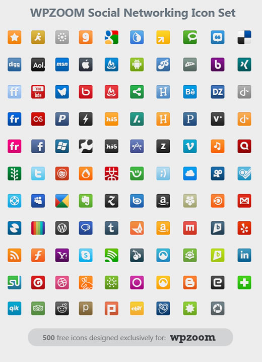 500 Free Icons Social Networking Icon Set from WPZOOM