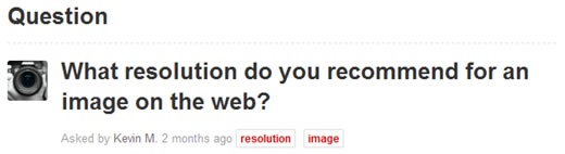 What resolution do you recommend for an image on the web?