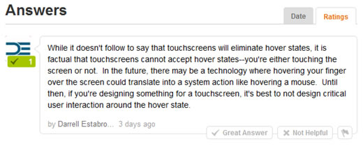 Will Touchscreen devices make hover states a thing of the past?