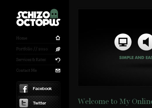 Schizo Octopus Website Template (XHTML+PSD's)