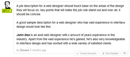 What should a basic job description look like for a Web Designer?