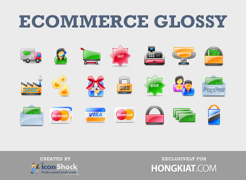 Glossy E-Commerce Icon Set