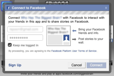 facebook connect MODAL ANON