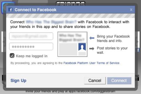facebook connect MODAL ANON